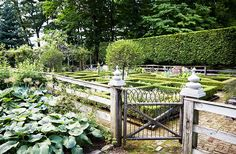 Bunny's formal garden, lined with 12-foot-high hornbeam hedges, is ever-changing, with new combinations of colorful blooms planted each year.