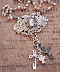 Antique Cameo and Vintage Crosses Necklace