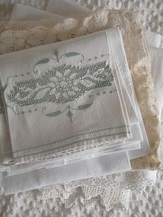 Raindrops and Roses Linen Bedding, Linen Fabric, Fabric Art, Vintage Lace, Vintage Decor, Raindrops And Roses, Linens And Lace, Fine Linens, Cutwork
