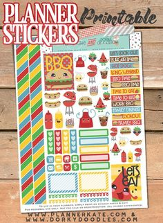 BBQ Stickers Planner Printable - perfect for summer planning, because you better have at least a few bbqs planned!