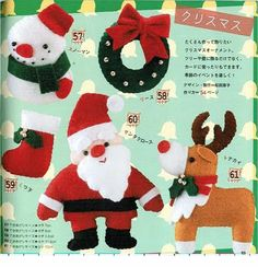 Crafts & Cia: Molds for felt: Santa Claus, snowman, garland, reindeer and bootie