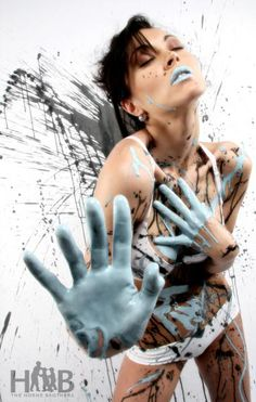 Stop the Turquoise Paint Splash, Artistic Makeup by Sherilynn Marilyn - Graffiti Inspiration - paintter Paint Splash, Color Splash, Conceptual Photography, Portrait Photography, Turquoise Painting, Photoshoot Inspiration, Hair Inspiration, Face Expressions, Fantasy Makeup