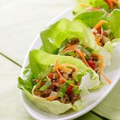 Don't limit yourself to lettuce for this low-carb, gluten-free taco lettuce wrap recipe--any fresh green sturdy enough to wrap around 1/2 cup of filling works.