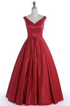 Elegant red satin prom dress, ball gown 2017