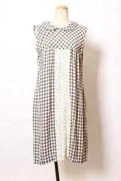 Black×white 50'sクラシカルキッチュギンガムCheck柄Lace装飾ノースリーブワンピース