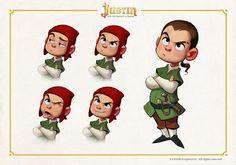 """Algunos concepts de niños para """"Justin y la Espada del Valor""""."""