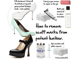 How to remove scuff marks from patent leather People notice your shoes. And if you like to wear patent leather flats and heels like I do, they invariably get scuffed up. Black Patent Leather Shoes, Off White Shoes, White Heels, Black Shoes, Leather Flats, Mint Green Heels, Clean Shoes, Your Shoes, Cleaning Tips