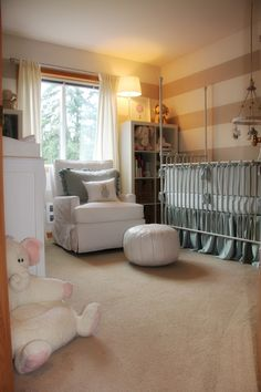 stripes - like the bookshelves on the window sides AND the long crib skirt - gorgeous!