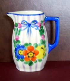 Czechoslovakia Pottery Pitcher Hand Painted by SwanCreekCottage, $25.00