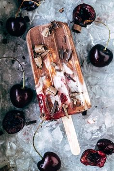 """Dairy Free Black Forest Popsicles via Artful Desperado saw agave for honey and omit from """"cream"""" portion"""