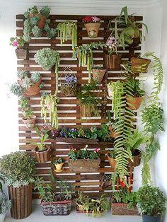 Dicas da Vila do Artesão - Painel para plantas em madeira de demolição