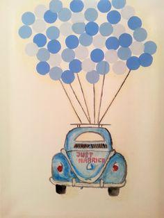 Wedding tree. Volkswagen Beetle. Balloons.