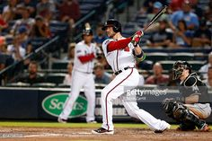 News Photo : Tyler Flowers of the Atlanta Braves bats during...