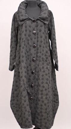 PRISA COLLECTION BERLIN LAGENLOOK BALLOON COTTON BUTTON COAT POLKA DOTS $450 #PRISA #Jacket