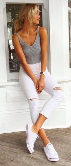 #summer #fashion / gray tank top