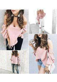 Pink Plain Drawstring Boat Neck Fashion Loose Blouse