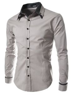 TheLees Men's long double collar cuff slim dress Shirt at Amazon Men's Clothing store: Button Down Shirts