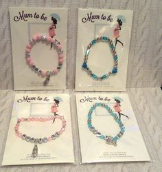 MUM TO BE / BABY SHOWER GIFT BRACELET with bootie or teddy charms * Boy Girl *