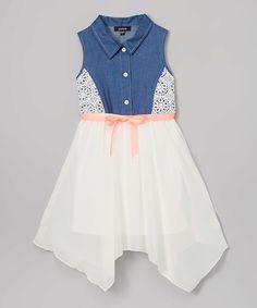 Zunie Denim & Ivory Button-Front Handkerchief Dress - Toddler & Girls | zulily