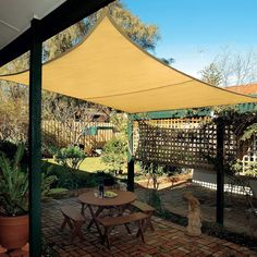 Coolaroo Coolhaven Shade Sail: 12 Square Feet - 420102 While historic with thought, the pergola Backyard Shade, Small Backyard Landscaping, Pergola Shade, Small Patio, Backyard Ideas, Small Outdoor Patios, Florida Landscaping, Patio Ideas, Patio Pergola