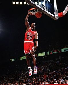 MJ finishes off a fast break with a slam dunk against the Denver Nuggets during 1991-92 Season.