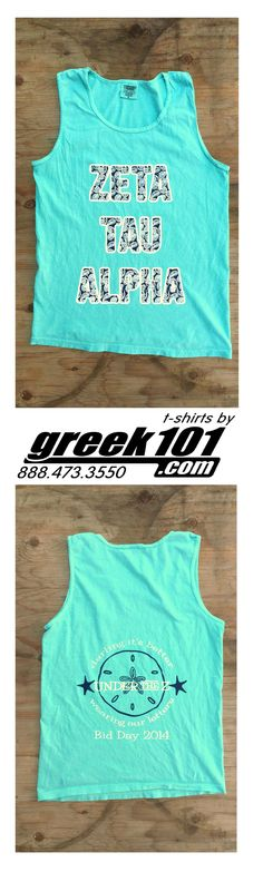 """Greek101 Bid Day Zeta Tau Alpha Chalky Mint Comfort Colors tank top pigment """"Darling it better wearing our letters, under the Z"""" visit: greek101.com call: 888-473-3550 email: inquiry@greek101.com"""