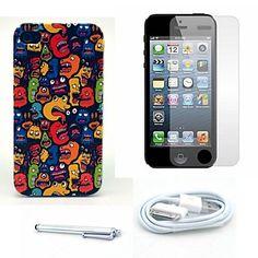 vele monsters patroon harde case en screen protector en stylus en kabel voor iPhone 4 / 4s – EUR € 5.51