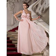 Sheath/Column One Shoulder Floor-length Chiffon Evening Dress – USD $ 129.99