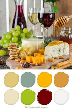 Cheese and Fruit Board with Wine Paint Color Palette - 20 Color Palettes Inspired by Food - View 20 color palettes inspired by food and get ideas for your next DIY project, furniture refresh, room makeover, or digital are project. Chicken Painting, Wine Painting, Coffee Painting, Rustic Color Schemes, Rustic Colors, Colour Schemes, Cream Paint Colors, Avocado Bread, Grape Color
