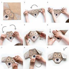 origami detska papirova hra hracka zviratka kun kocka pes prase krava ovce skladani barveni rozvoj jemne motoriky djeco
