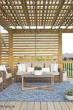 Deck with pergola and privacy screen #deckideas #pergoladesigns Small Pergola, Pergola Attached To House, Deck With Pergola, Wooden Pergola, Covered Pergola, Outdoor Pergola, Backyard Pergola, Wooden Decks, Pergola Shade