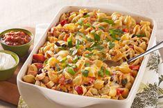 Enchilada de pâtes au poulet - Tout ce qu'on aime d'un enchilada dans un plat de pâtes gratiné - wow !