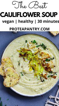 This very creamy cauliflower soup is absolutely delicious. It is comforting and full of healthy vegetables. It is dairy-free and gluten-free. A quick and cozy soup recipe for dinner, lunch or an impressive starter. Healthy Soups, Vegan Soups, Healthy Vegetables, Healthy Meals For Kids, Healthy Meal Prep, Healthy Eating, Healthy Soup Recipes, Fall Recipes, Dinner Recipes