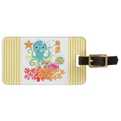 Our Welcome to the Ocean design is cute, fun, and colorful, great for kids who love the ocean and all the sea creatures it has to offer. Features a blue octopus, sea horse, fish, starfish, and crab! Ocean animals theme T-shirts, mugs, bags, cards, wall clocks, keepsakes, pillows, journals, and more! #ocean #underwater #sea #sea #life #animals #fish #octopus #starfish #seahorse #kids #marine #animals