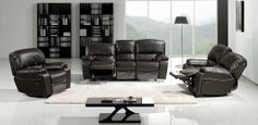3pc Modern Chocolate Leather Dual Reclining Sofa Set Loveseat Recliner