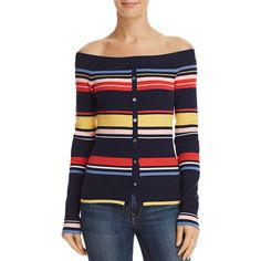 Frame Striped Off-the-Shoulder Sweater ($229) ❤ liked on Polyvore featuring tops, sweaters, navy multi, stripe sweaters, blue sweater, navy blue off shoulder top, off the shoulder sweater and navy off the shoulder top