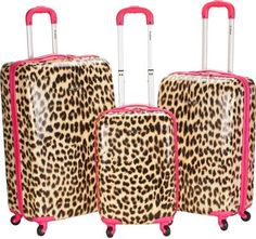 Rockland Luggage Leopard 3 Piece Hardside Spinner Set Pink Leopard - via eBags.com!