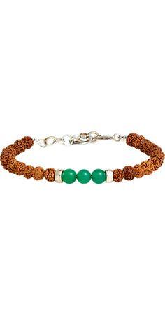 Caputo & Co Rudraksha, Green Agate & Silver Bead Bracelet -  - Barneys.com