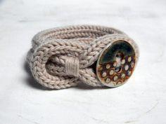 Wool and Porcelain Knit Bracelet #Handmade #Knitting