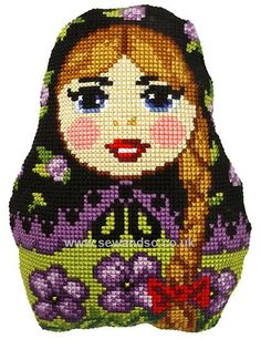 Buy Russian Doll 2 Cushion Front Chunky Cross Stitch Kit Online at www.sewandso.co.uk