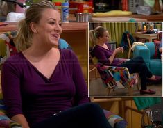 Penny's purple cowl neck top and purple/pink tassel loafers on The Big Bang Theory.  Outfit Details: http://wornontv.net/20908/ #TheBigBangTheory