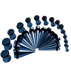 BodyJ4You® Gauges Kit Taper Plug Tunnels Electric Blue 12G-0G Stretching Set Ear Stretching Body Jewelry 28 Pieces
