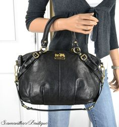 $398 COACH Madison Black Leather Small Sophia Satchel Bag 15960 #Coach #Satchel
