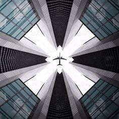 stock photo, daytime, nobody, outdoors, urban-scene, travel, city, sky, transportation, view-from-below, architecture, building, building-exterior, skyscraper, mid-air, flying, airplane, abstract, manipulated-photography, aircraft, symmetry, aviation, commercial-airplane, jet-plane, passenger-plane, cool, design, plane, lookup