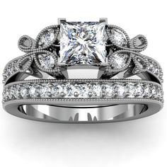 Gorgeous vintage wedding ring set....drool. Might just but for myself and replace diamond with emerald....