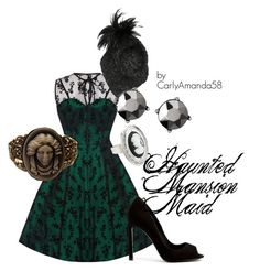 Haunted Mansion Maid Disney Bound by carlyamanda58 on Polyvore featuring Voodoo Vixen, Kurt Geiger, Disney, Corina Haywood, women's clothing, women's fashion, women, female, woman and misses