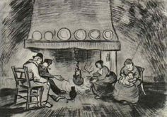 Vincent van Gogh — Interior of a Farm with Figures at the Fireside,...