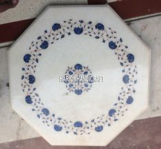 12'' Lapis Floral Mosaic Stone Marble Coffee Table Top Inlay Outdoor Decor H5387 #HariomHandicraftExport #ArtsCraftsMissionStyle #MarbleTable #OctagonTableTop #LapisDesign #FloralArt #InlayDesign #TableTop #FurnitureTable #OutdoorDecor #WhiteTableTop #UniqueTableTop #HandmadeTopTable #ModernTopTable