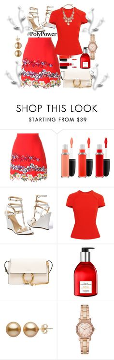 """#Poly Power"" by helenaymangual ❤ liked on Polyvore featuring MSGM, MAC Cosmetics, Venus, Roland Mouret, Chloé, Hermès, Michael Kors and Banana Republic"