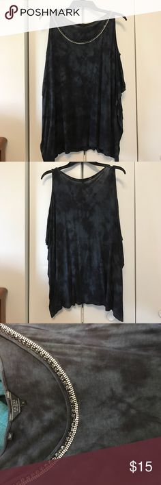 Guess cold shoulder with rhinestone neckline Size small. Flowy. Sides sewn but flaps. Worn once Guess Tops Tees - Short Sleeve
